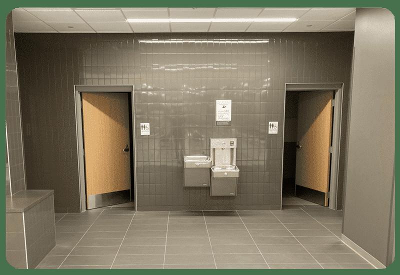 school hallway floor and wall tile