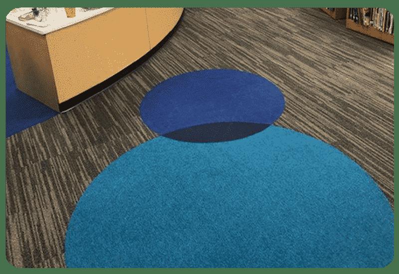 colorful carpet design school library