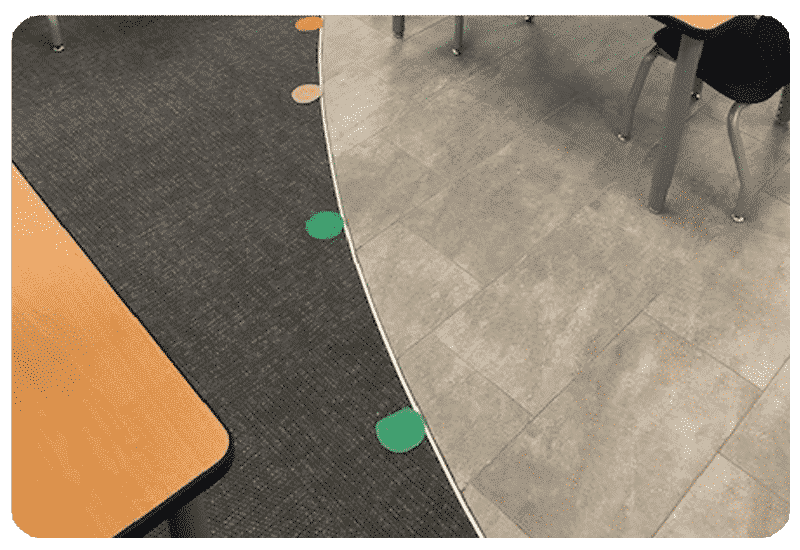 colorful carpet and tile school