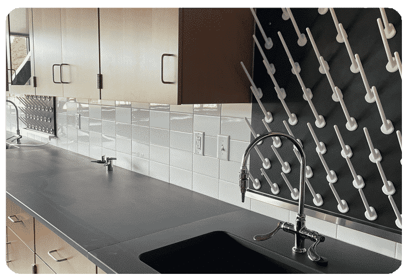 white tile backsplash school lab