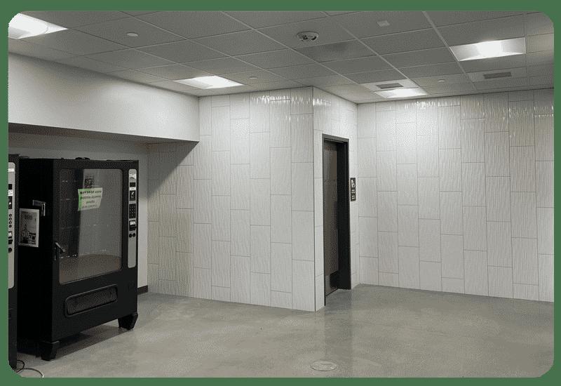school hallway wall tile vertical
